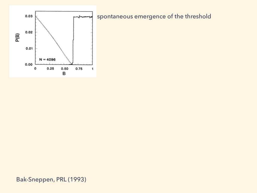 spontaneous emergence of the threshold Bak-Snep...