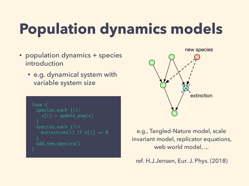 Population dynamics models • population dynamic...