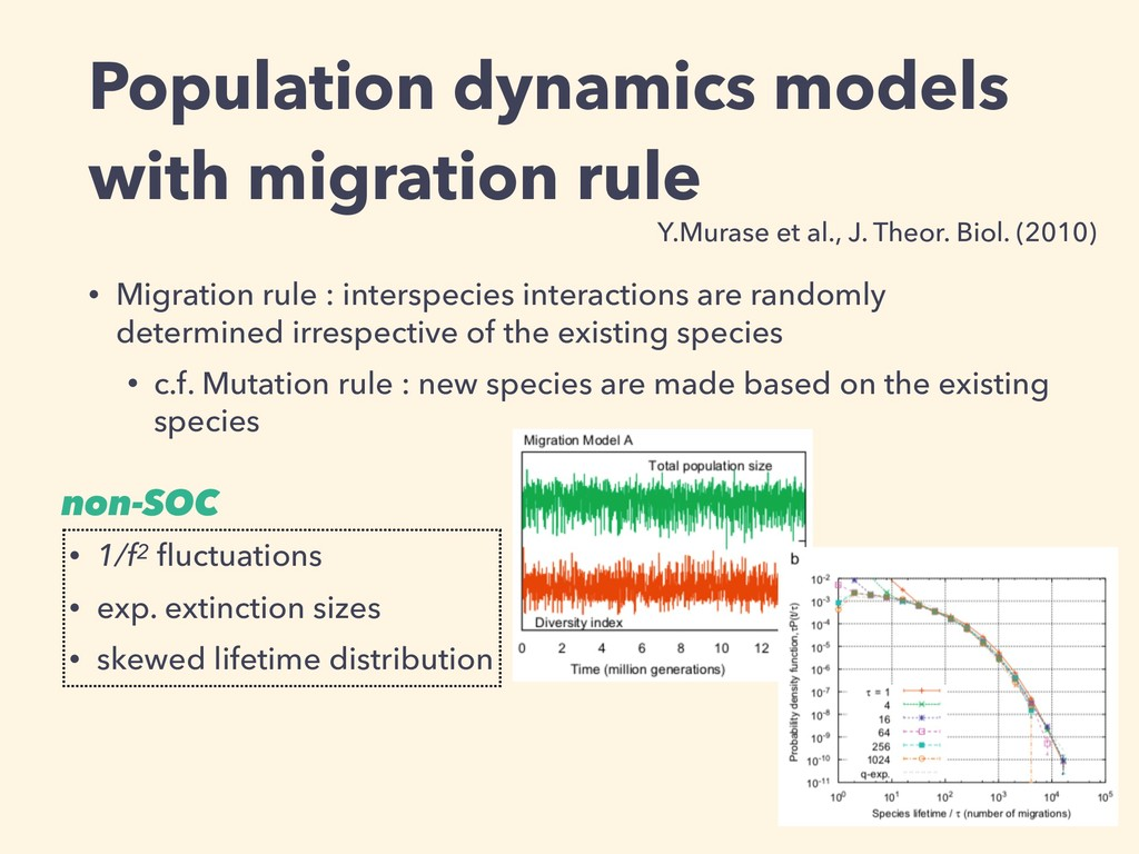 Population dynamics models with migration rule ...