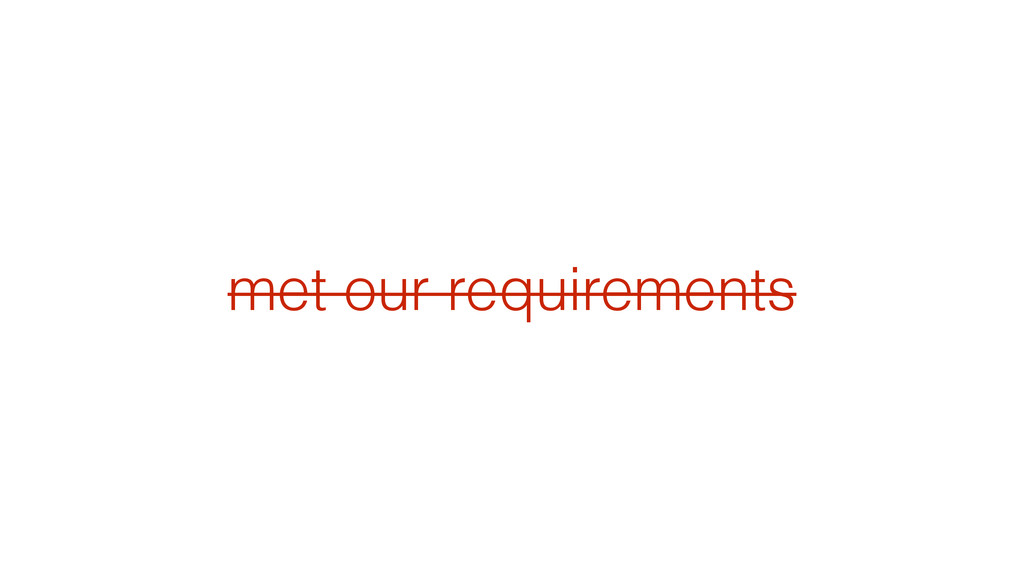 met our requirements