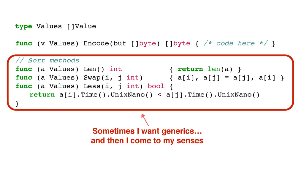 type Values []Value func (v Values) Encode(buf ...