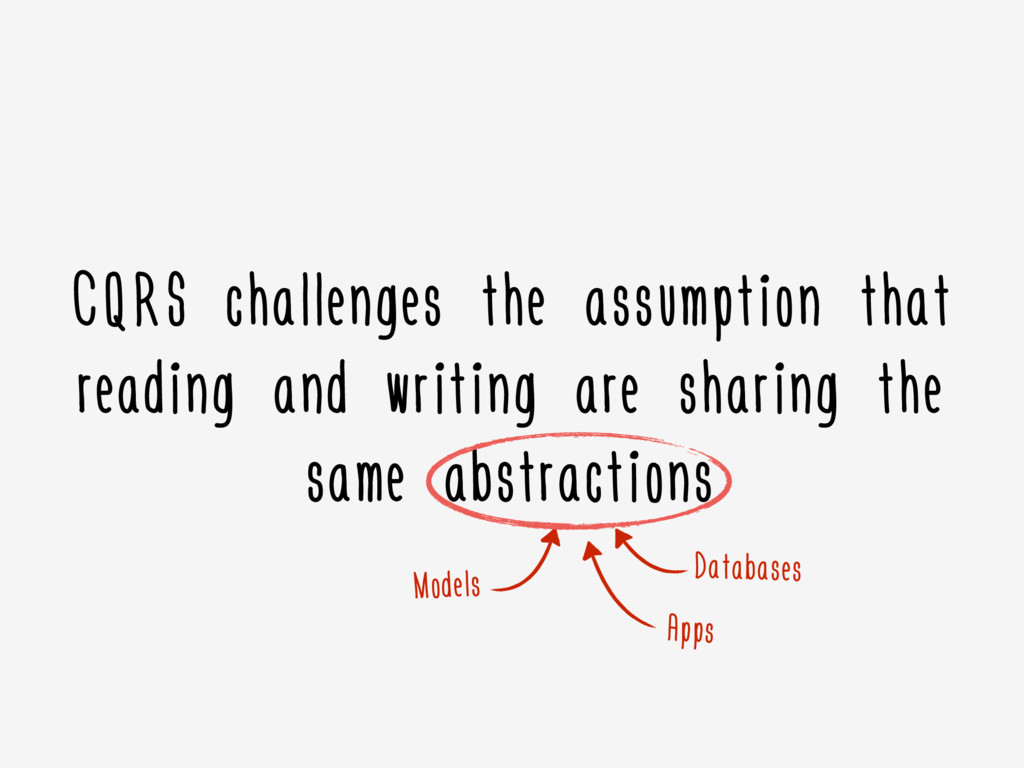 CQRS challenges the assumption that reading and...