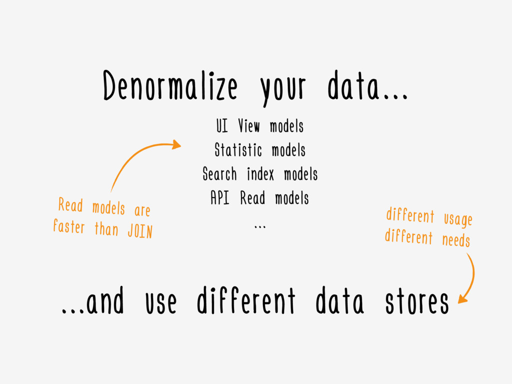 ………and use different data stores Denormalize yo...