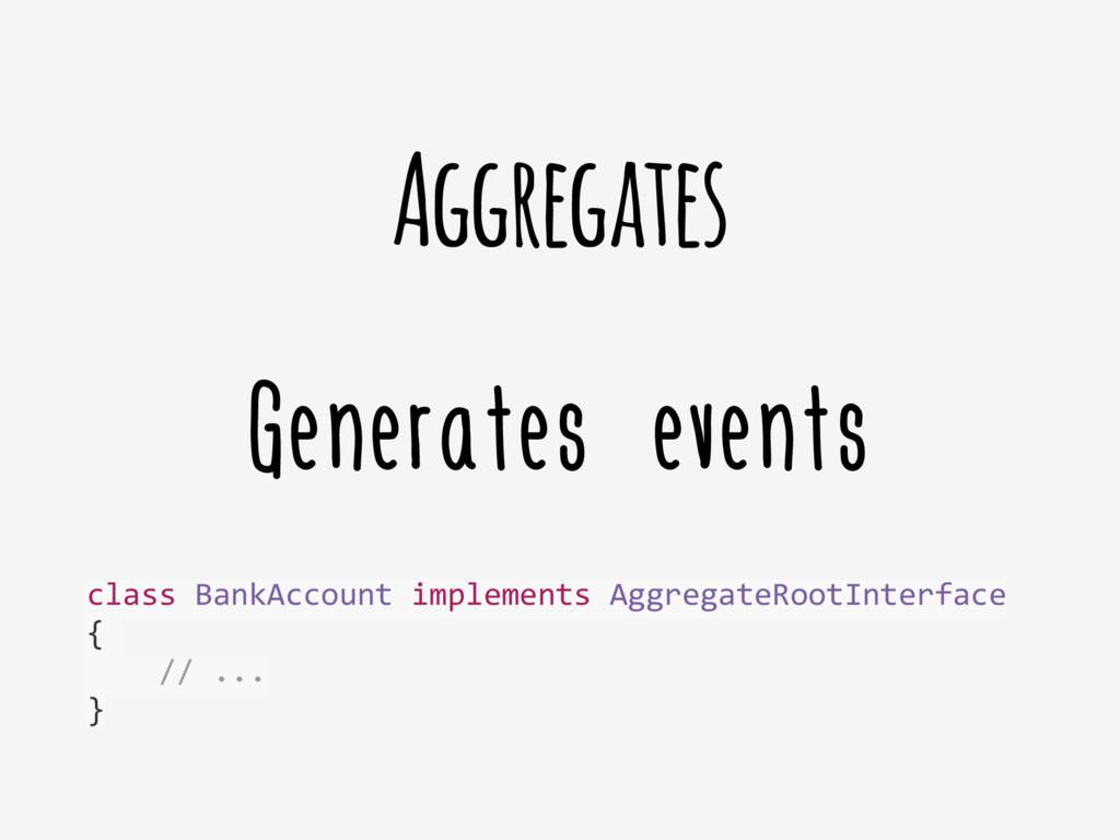 Generates events Aggregates class BankAccoun...