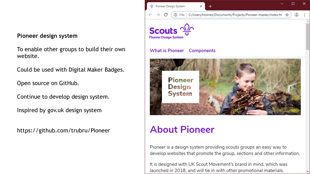 Pioneer design system To enable other groups to...