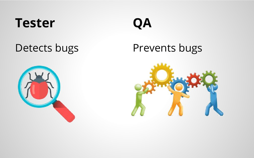 Tester Detects bugs Prevents bugs QA