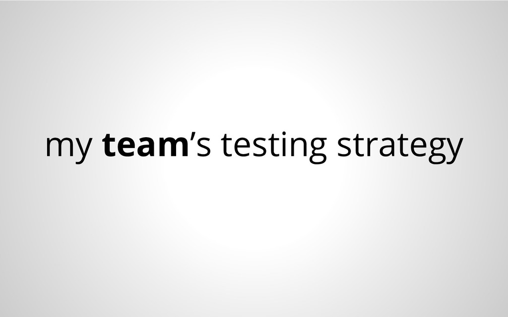 my team's testing strategy