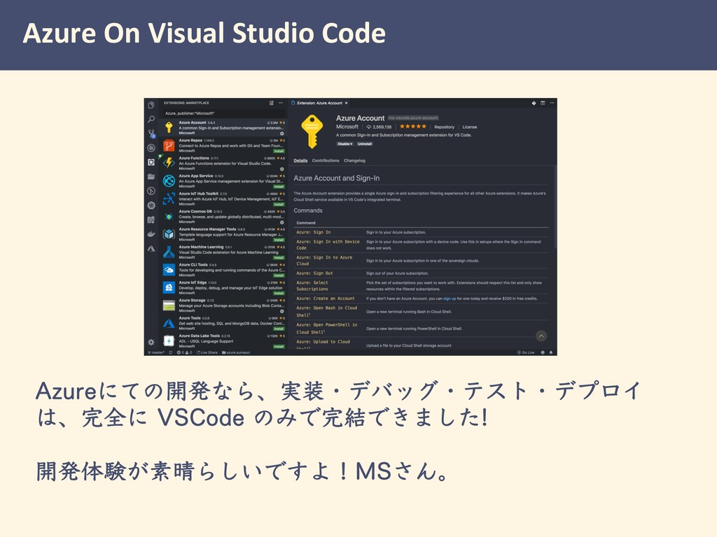 "Azure On Visual Studio Code ""[VSFʹͯͷ։ൃͳΒɺ࣮ɾσόο..."