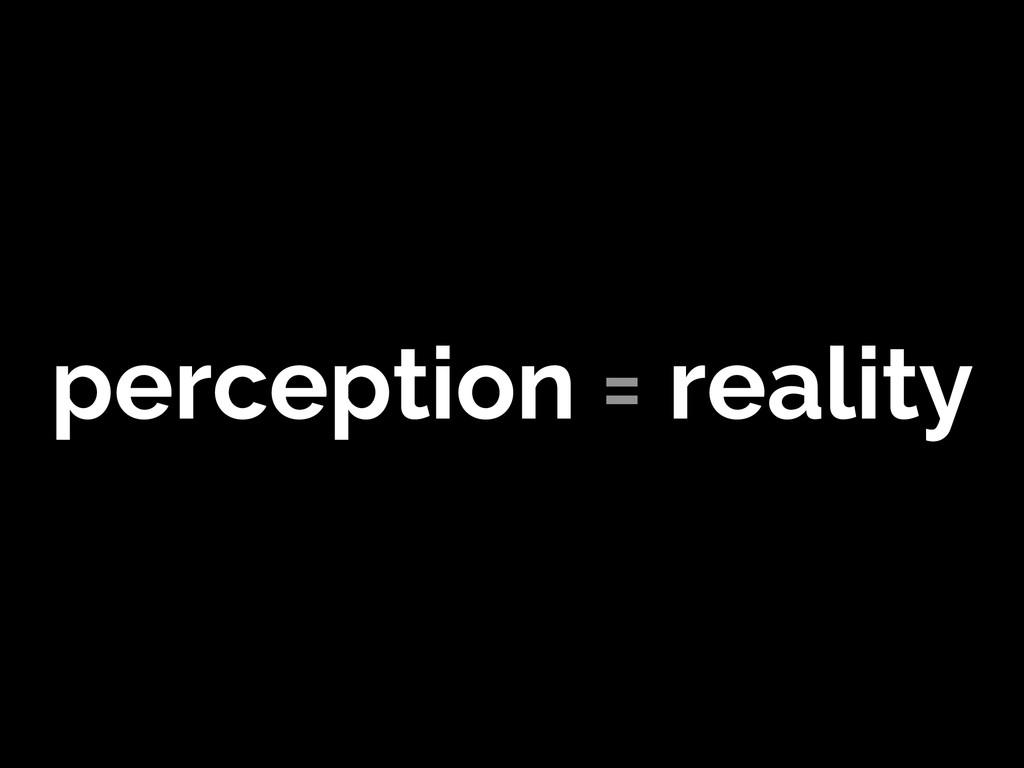 perception = reality