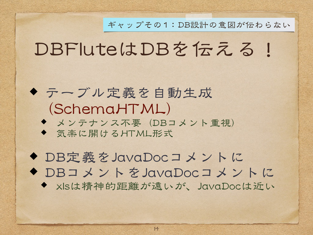 DBFluteはDBを伝える! テーブル定義を自動生成  (SchemaHTML)  メンテ...