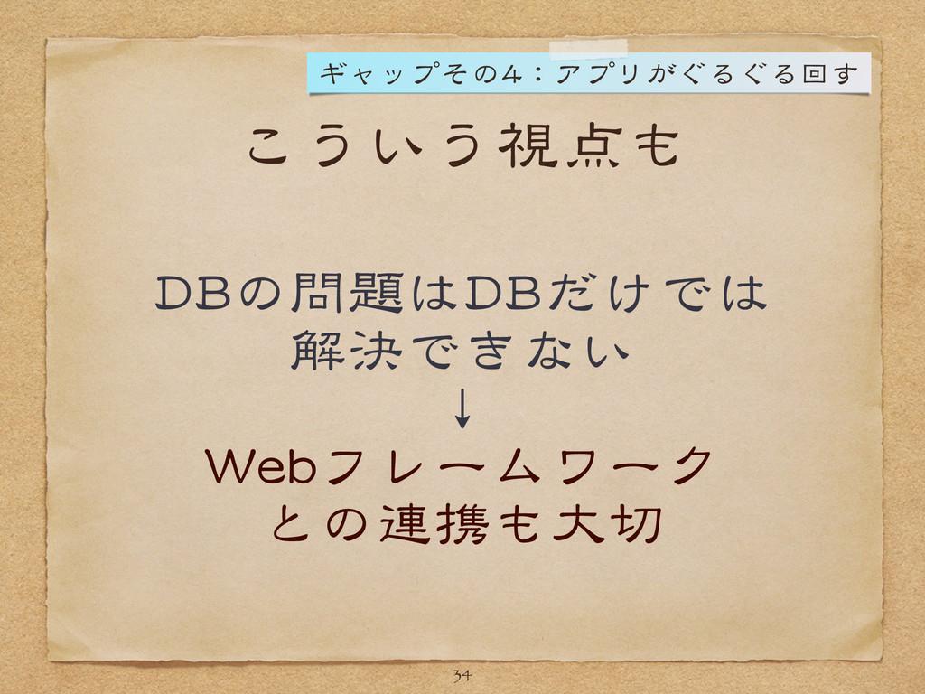 こういう視点も DBの問題はDBだけでは  解決できない  ↓  Webフレームワーク  との...