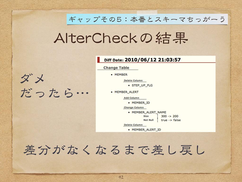 AlterCheckの結果 ダメ  だったら…  差分がなくなるまで差し戻し 42 ギャップそ...
