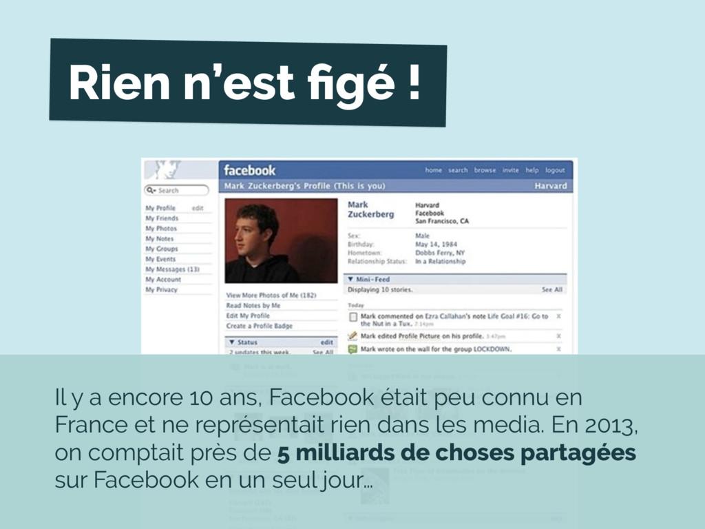 Rien n'est figé ! Il y a encore 10 ans, Facebook...