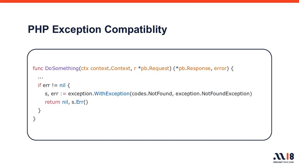 PHP Exception Compatiblity func DoSomething(ctx...