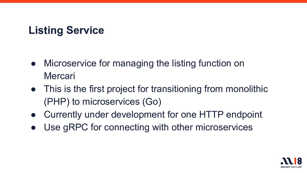 Listing Service ● Microservice for managing the...