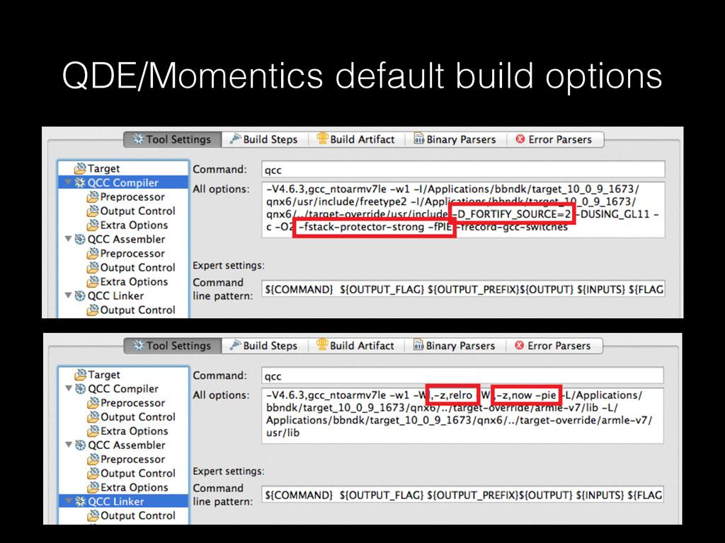 QDE/Momentics default build options