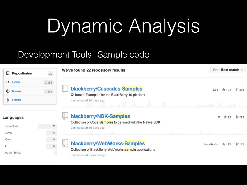 Dynamic Analysis Development Tools Sample code