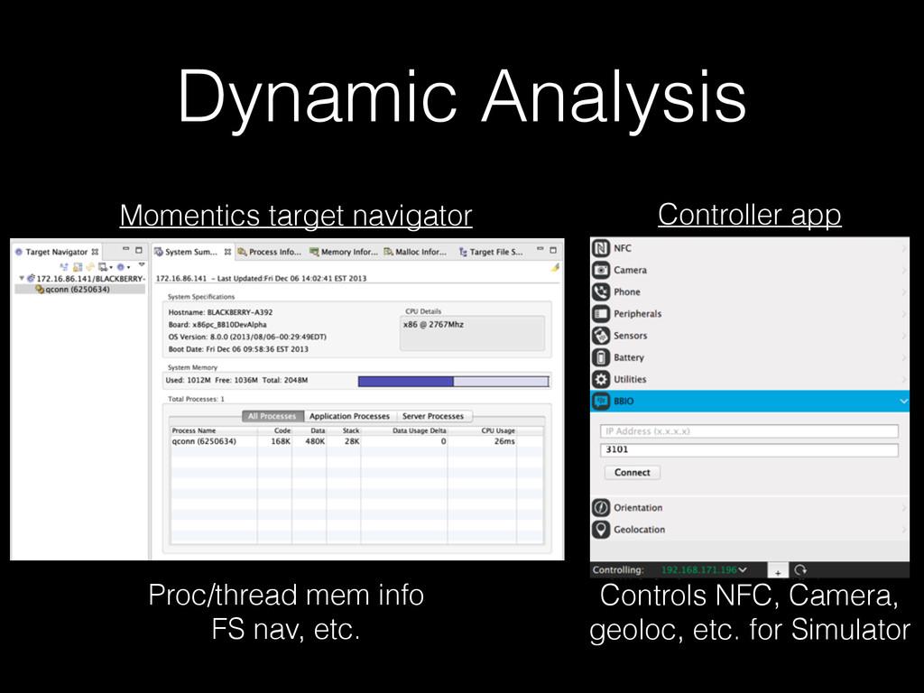 Dynamic Analysis Momentics target navigator Pro...