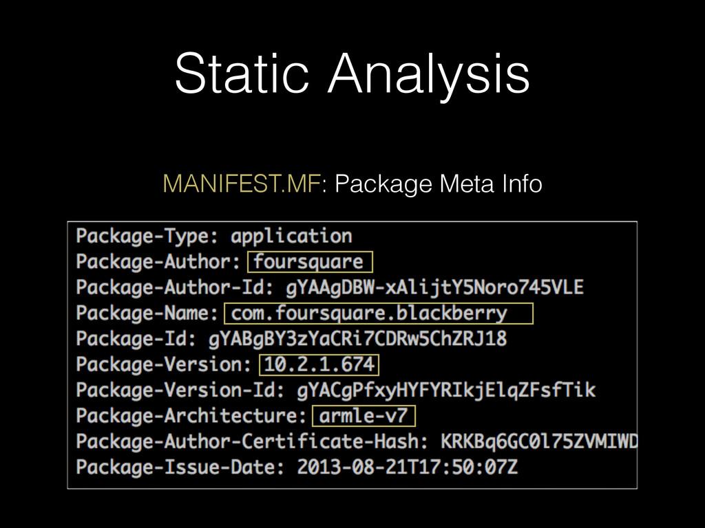 Static Analysis MANIFEST.MF: Package Meta Info