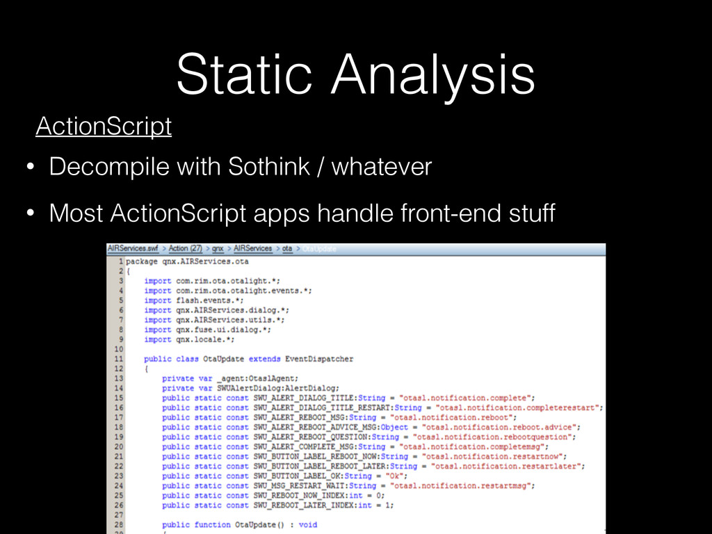 Static Analysis ActionScript • Decompile with S...
