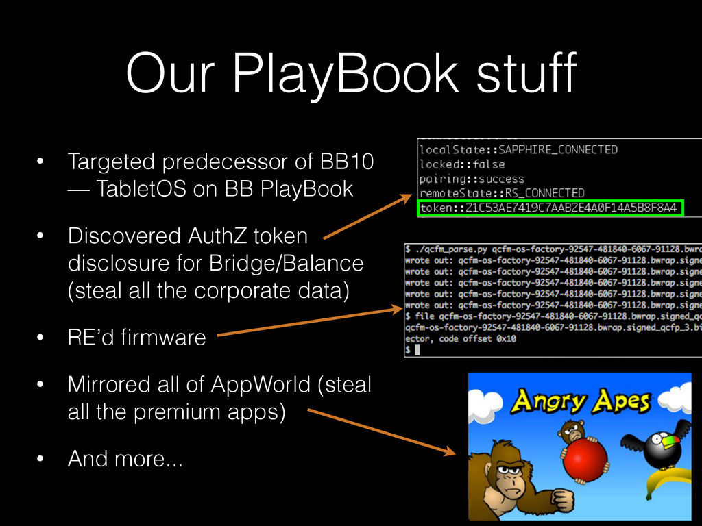 Our PlayBook stuff • Targeted predecessor of BB...