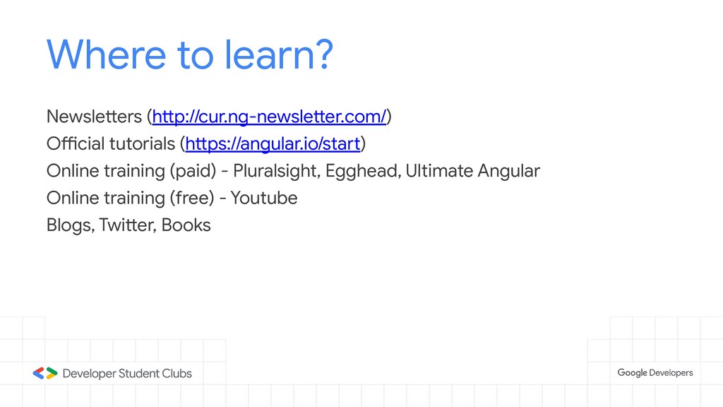 Where to learn? Newsletters (http://cur.ng-news...