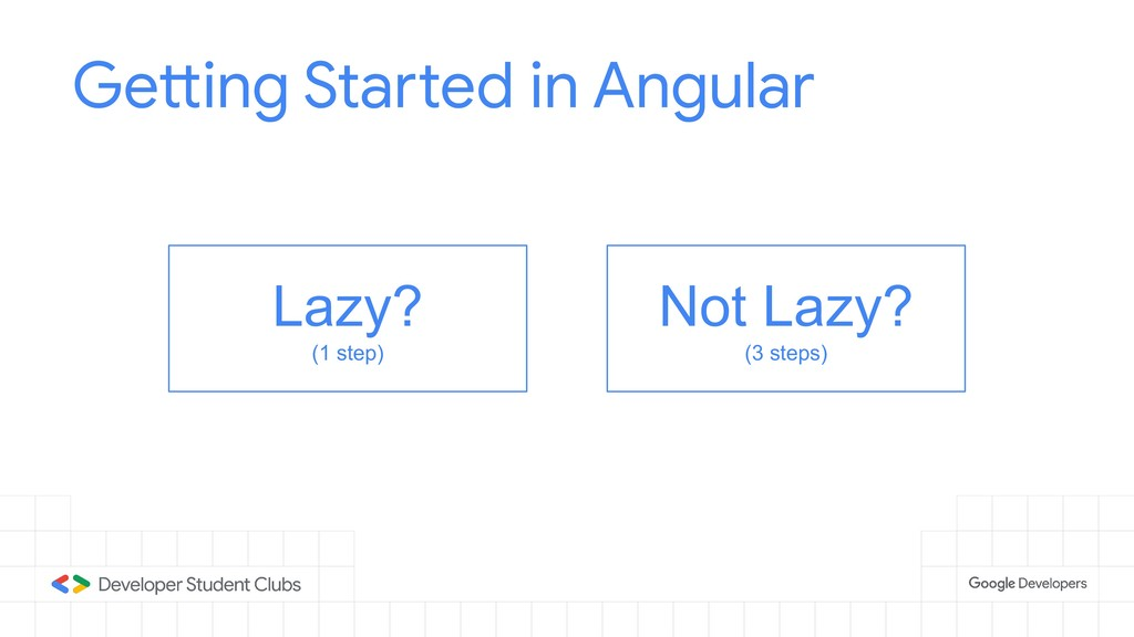 Getting Started in Angular Lazy? (1 step) Not L...