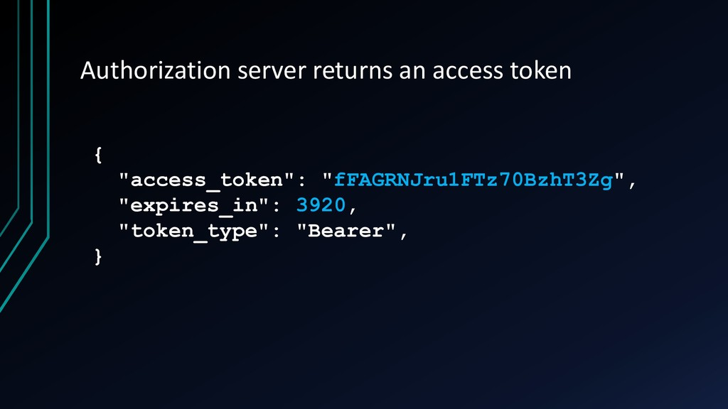 Authorization server returns an access token { ...