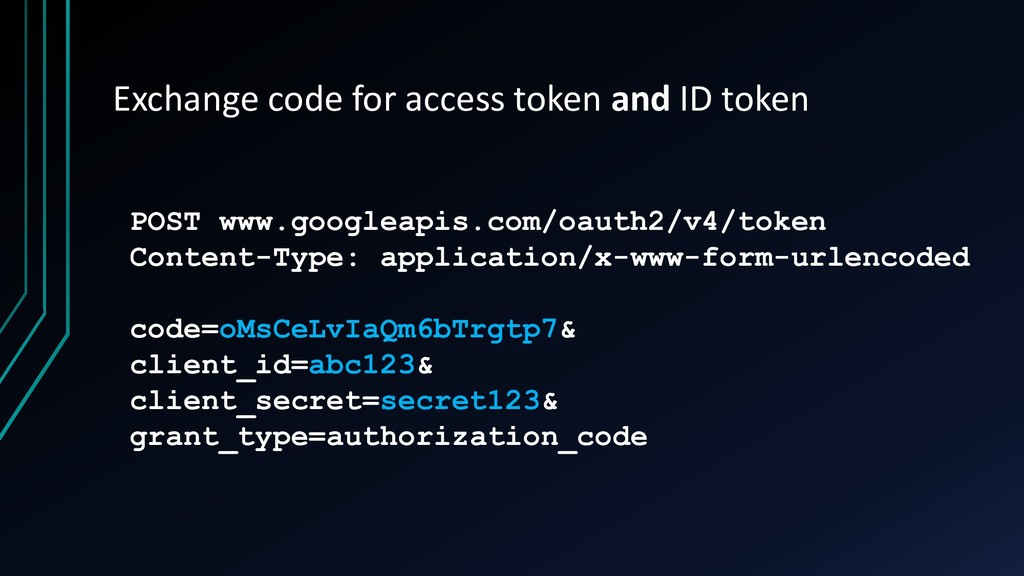 Exchange code for access token and ID token POS...