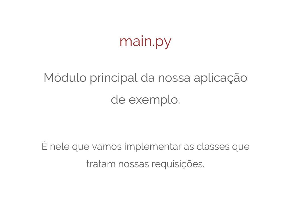 main.py Módulo principal da nossa aplicação de ...