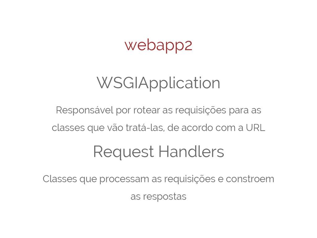 webapp2 WSGIApplication Responsável por rotear ...
