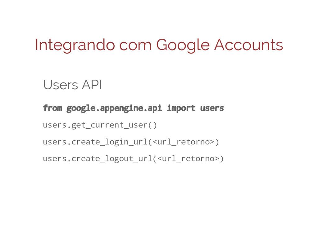 Integrando com Google Accounts Users API from g...