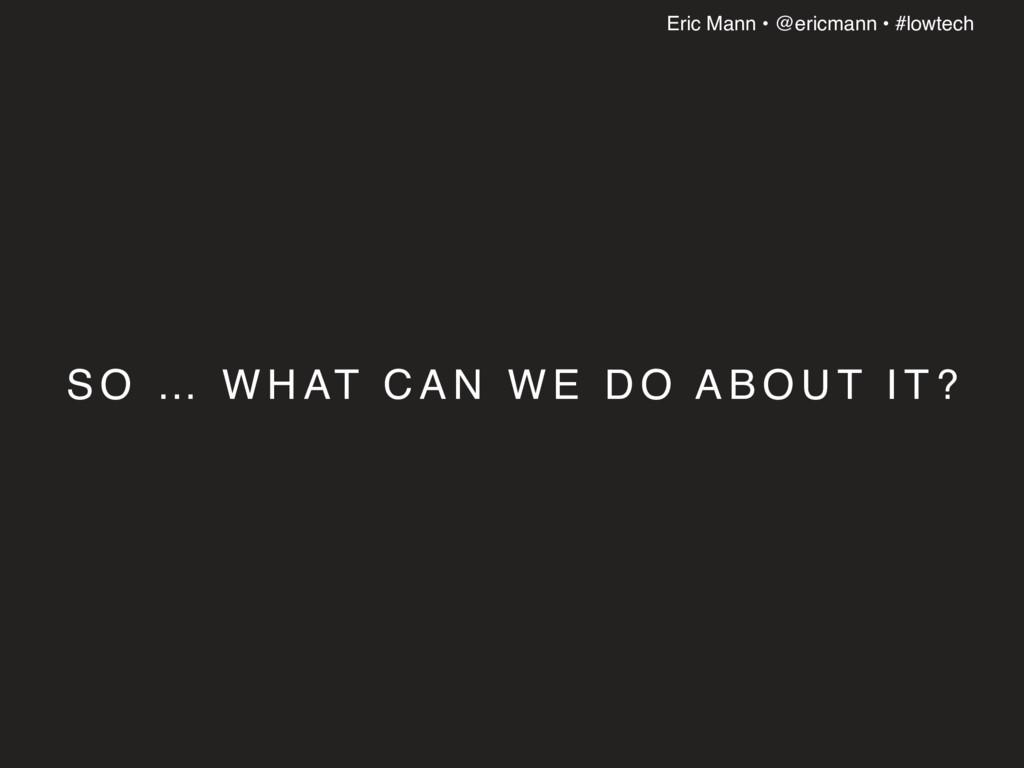 Eric Mann • @ericmann • #lowtech S O … W H AT C...