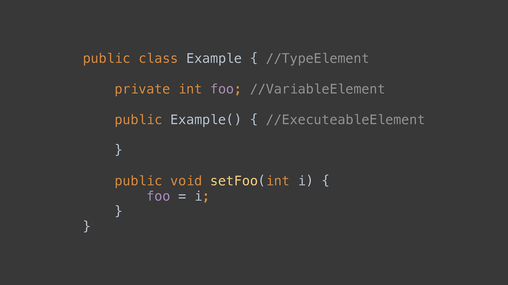 public class Example { //TypeElement  private...