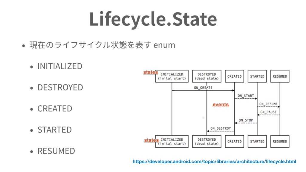 Lifecycle.State enum INITIALIZED DESTROYED CREA...