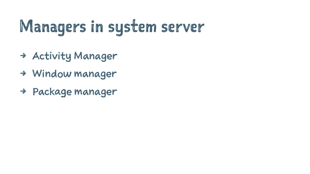 Managers in system server 4 Activity Manager 4 ...