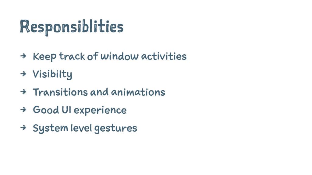 Responsiblities 4 Keep track of window activiti...