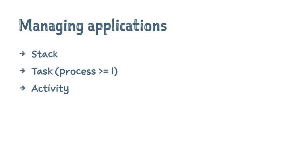 Managing applications 4 Stack 4 Task (process >...