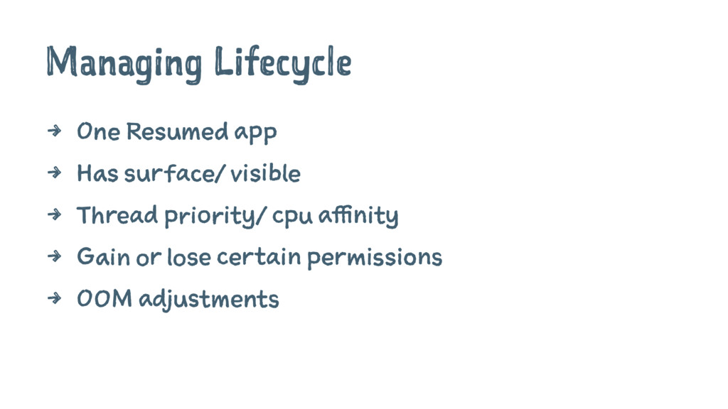 Managing Lifecycle 4 One Resumed app 4 Has surf...