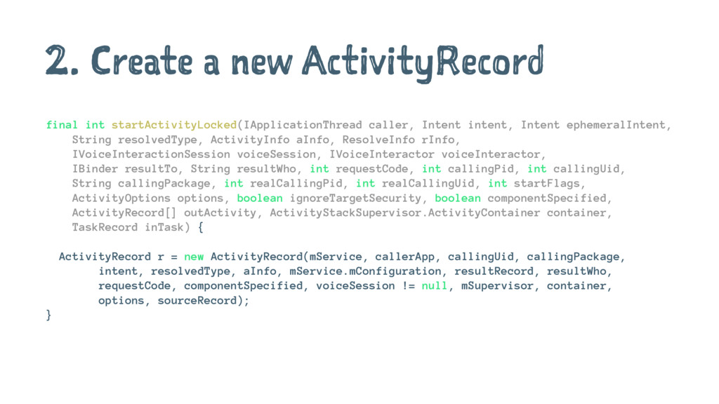 2. Create a new ActivityRecord final int startA...