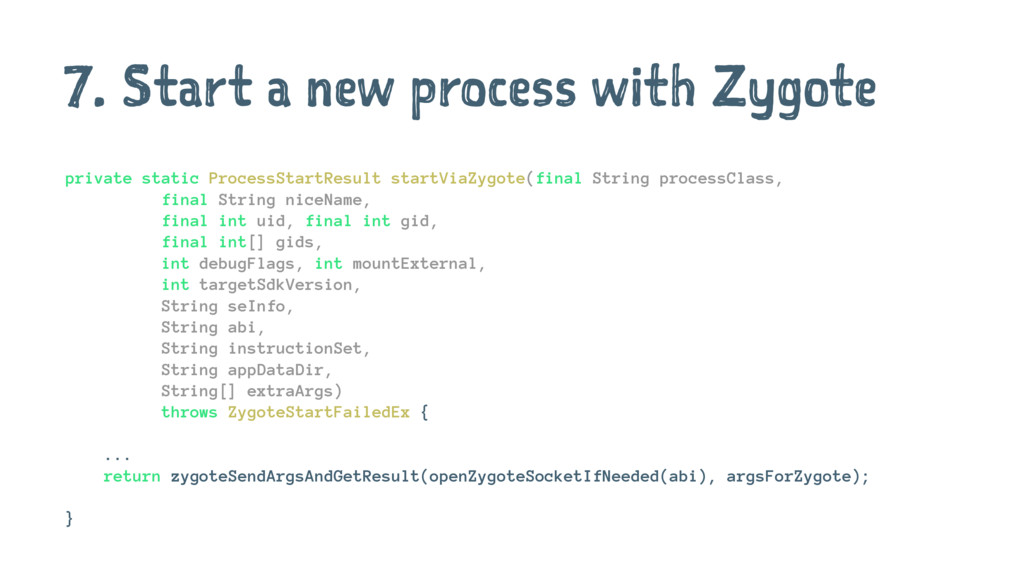 7. Start a new process with Zygote private stat...