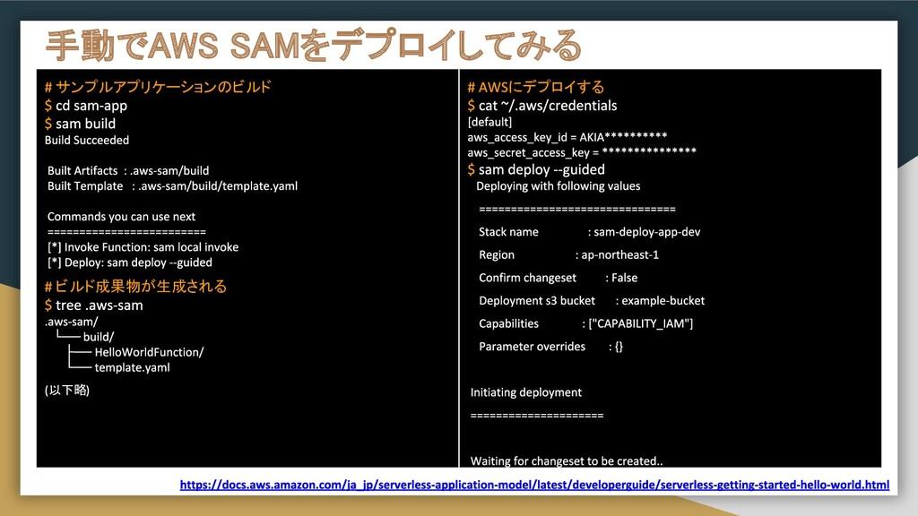 手動でAWS SAMをデプロイしてみる サンプルアプリケーションのビルド ビルド成果物が生成...