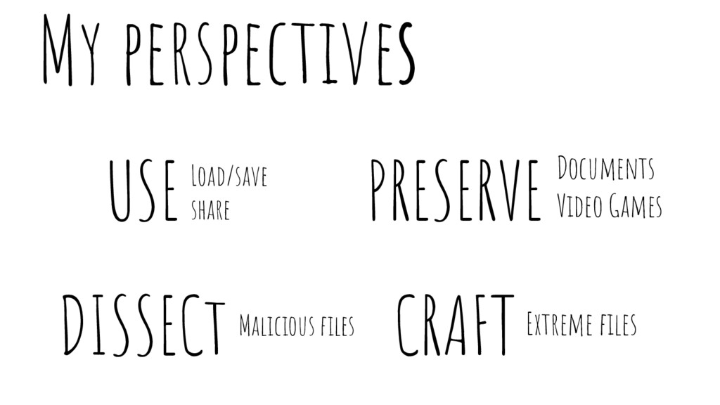 USE CRAFT DISSECt My perspectives PRESERVE Mali...