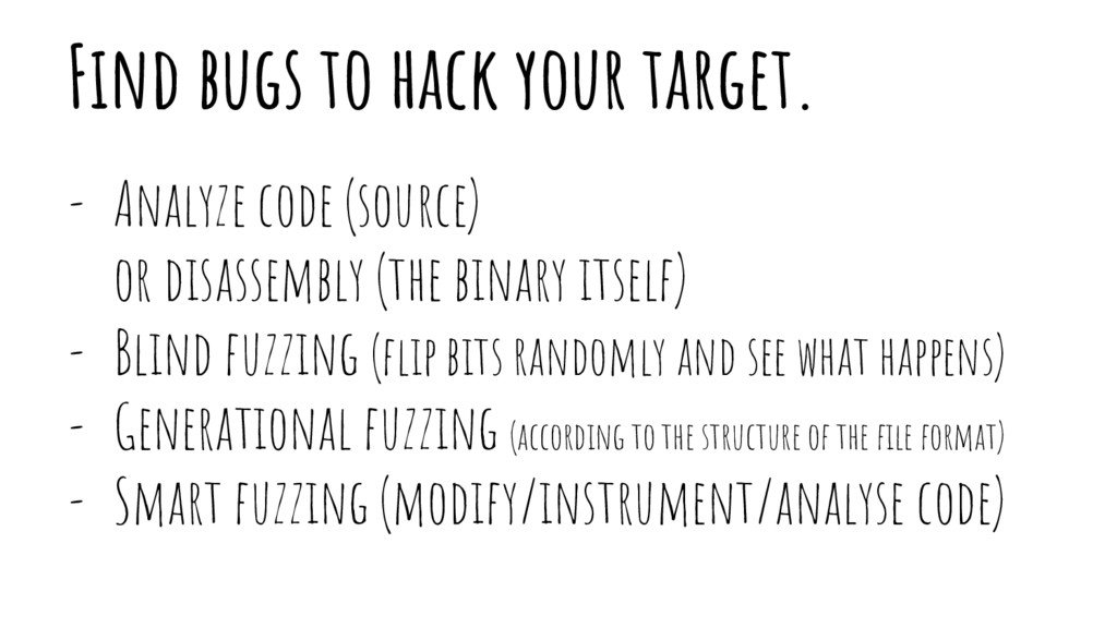 Find bugs to hack your target. - Analyze code (...