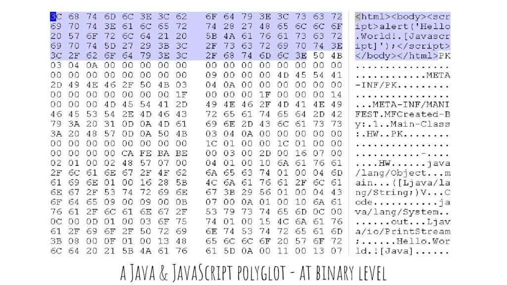 a Java & JavaScript polyglot - at binary level