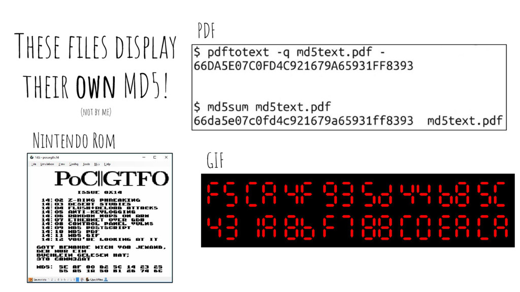 These files display their own MD5! (not by me) ...