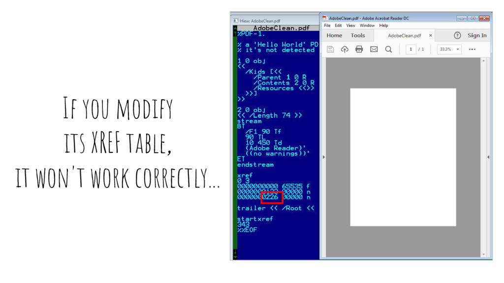 If you modify its XREF table, it won't work cor...