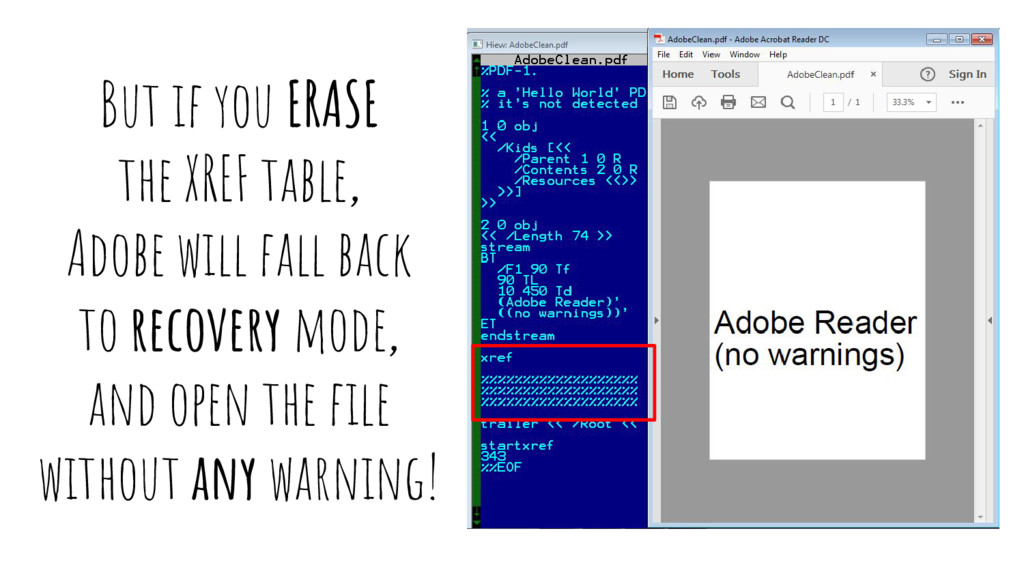 But if you ERASE the XREF table, Adobe will fal...