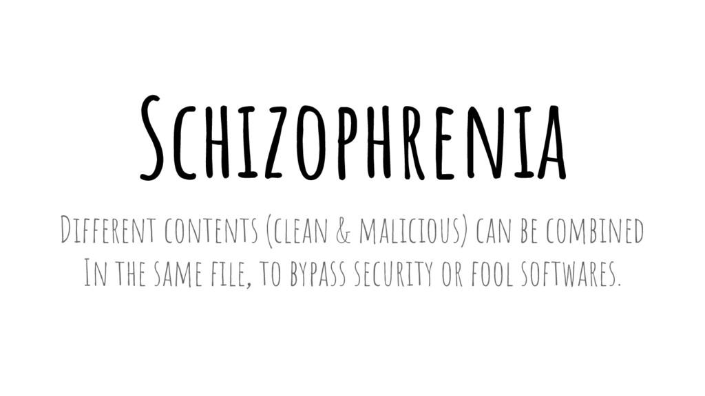 Schizophrenia Different contents (clean & malic...