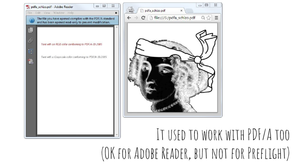 It used to work with PDF/A too (OK for Adobe Re...